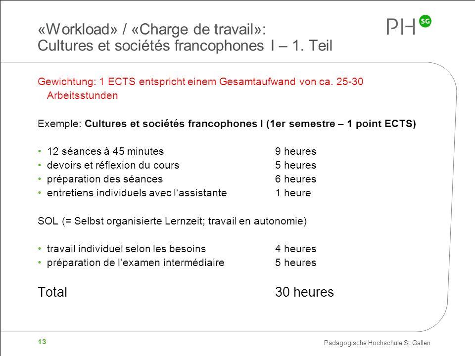 Pädagogische Hochschule St.Gallen 13 «Workload» / «Charge de travail»: Cultures et sociétés francophones I – 1. Teil Gewichtung: 1 ECTS entspricht ein