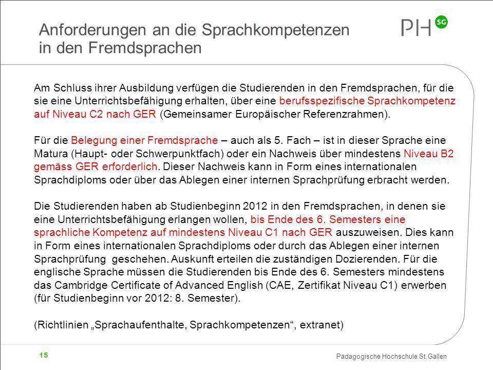 Pädagogische Hochschule St.Gallen 15 Anforderungen an die Sprachkompetenzen in den Fremdsprachen Am Schluss ihrer Ausbildung verfügen die Studierenden