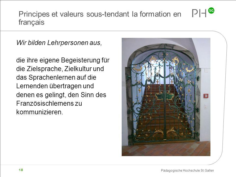 Pädagogische Hochschule St.Gallen 18 Principes et valeurs sous-tendant la formation en français Wir bilden Lehrpersonen aus, die ihre eigene Begeister