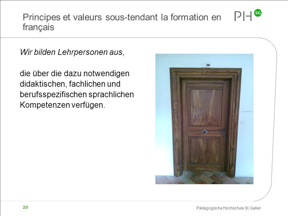 Pädagogische Hochschule St.Gallen 20 Principes et valeurs sous-tendant la formation en français Wir bilden Lehrpersonen aus, die über die dazu notwend