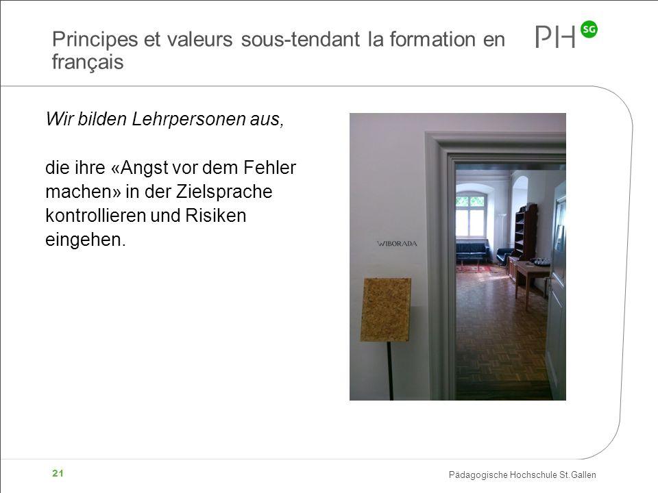 Pädagogische Hochschule St.Gallen 21 Principes et valeurs sous-tendant la formation en français Wir bilden Lehrpersonen aus, die ihre «Angst vor dem F