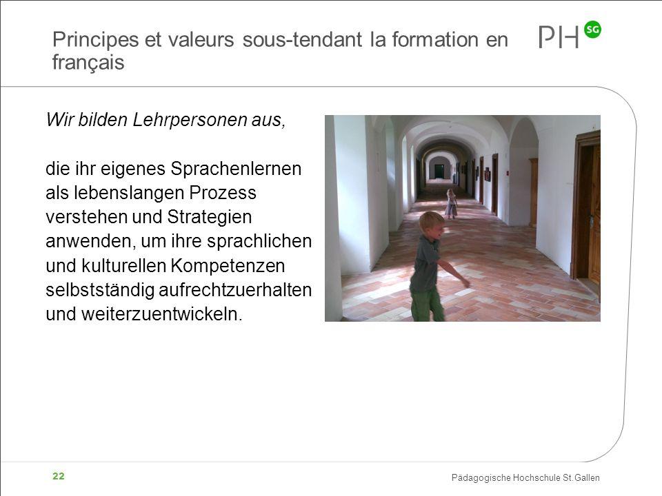 Pädagogische Hochschule St.Gallen 22 Principes et valeurs sous-tendant la formation en français Wir bilden Lehrpersonen aus, die ihr eigenes Sprachenl