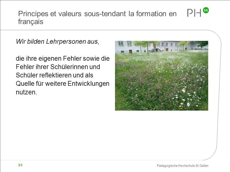 Pädagogische Hochschule St.Gallen 23 Principes et valeurs sous-tendant la formation en français Wir bilden Lehrpersonen aus, die ihre eigenen Fehler s