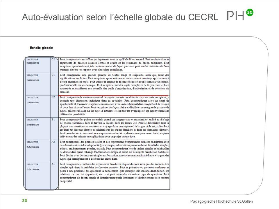 Pädagogische Hochschule St.Gallen 30 Auto-évaluation selon léchelle globale du CECRL