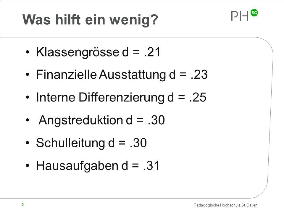 2 Pädagogische Hochschule St.Gallen Was hilft ein wenig? Klassengrösse d =.21 Finanzielle Ausstattung d =.23 Interne Differenzierung d =.25 Angstreduk