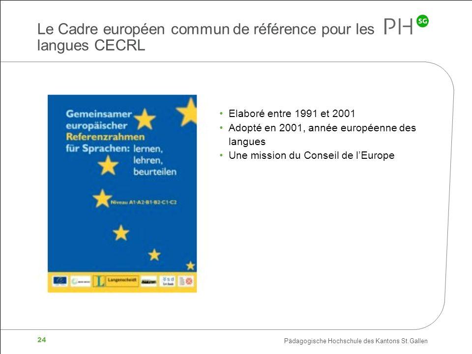 Pädagogische Hochschule des Kantons St.Gallen 24 Le Cadre européen commun de référence pour les langues CECRL Elaboré entre 1991 et 2001 Adopté en 2001, année européenne des langues Une mission du Conseil de lEurope