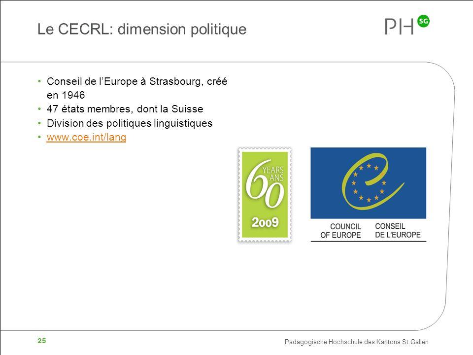 Pädagogische Hochschule des Kantons St.Gallen 25 Le CECRL: dimension politique Conseil de lEurope à Strasbourg, créé en 1946 47 états membres, dont la Suisse Division des politiques linguistiques www.coe.int/lang