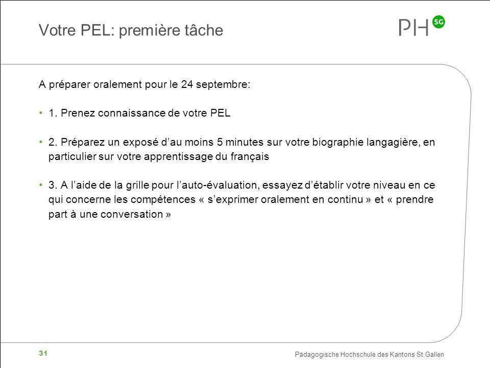 Pädagogische Hochschule des Kantons St.Gallen 31 Votre PEL: première tâche A préparer oralement pour le 24 septembre: 1.