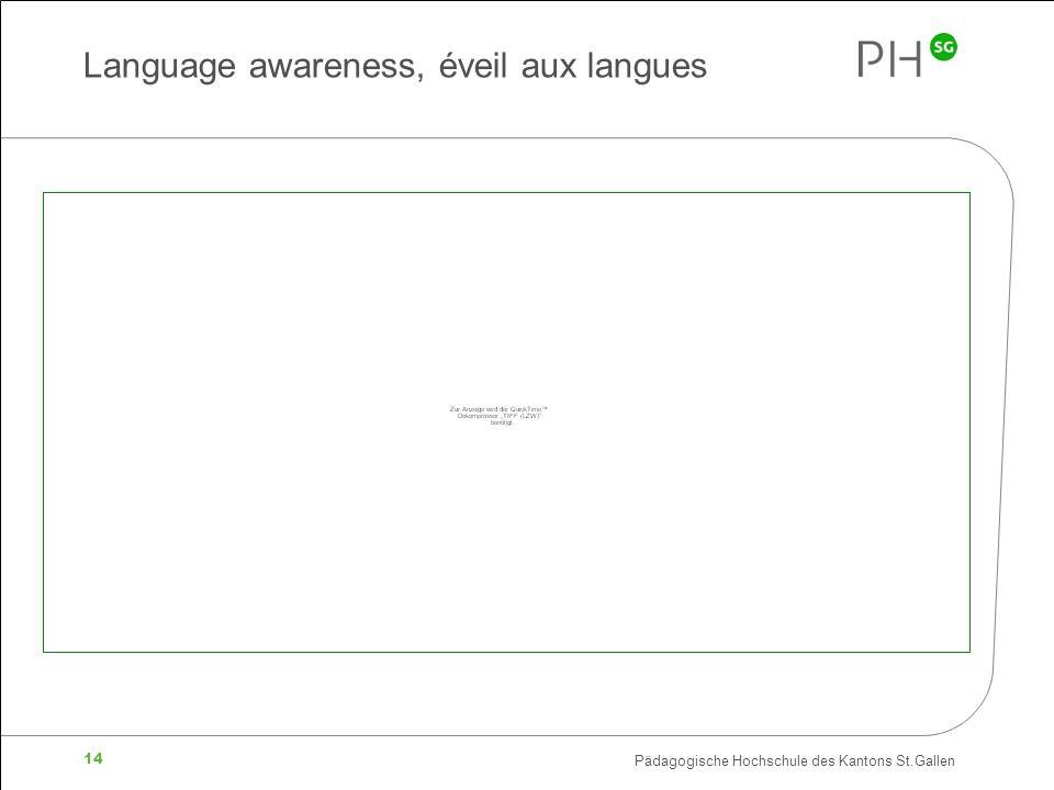 Pädagogische Hochschule des Kantons St.Gallen 14 Language awareness, éveil aux langues