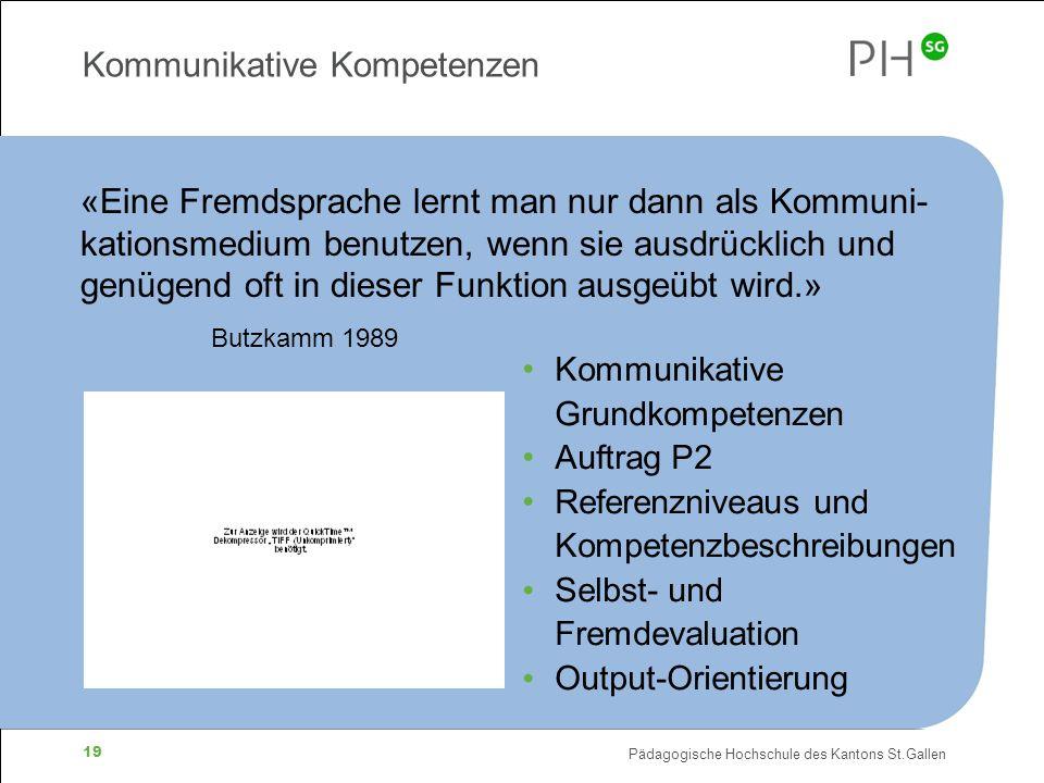 Pädagogische Hochschule des Kantons St.Gallen 19 Kommunikative Kompetenzen «Eine Fremdsprache lernt man nur dann als Kommuni- kationsmedium benutzen, wenn sie ausdrücklich und genügend oft in dieser Funktion ausgeübt wird.» Butzkamm 1989 Kommunikative Grundkompetenzen Auftrag P2 Referenzniveaus und Kompetenzbeschreibungen Selbst- und Fremdevaluation Output-Orientierung