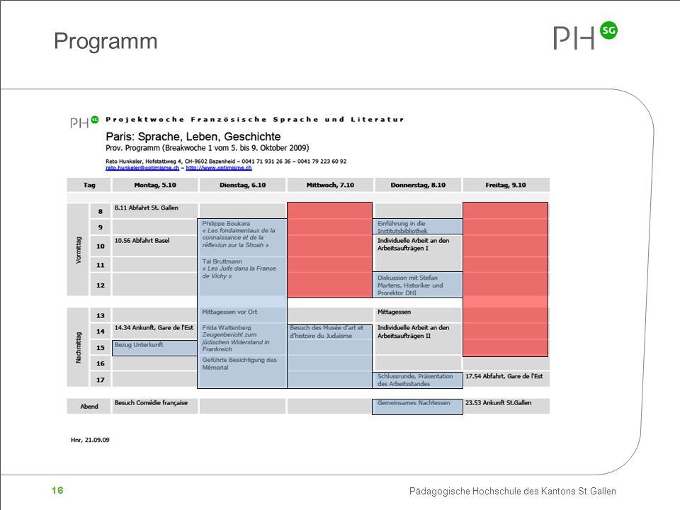 16 Pädagogische Hochschule des Kantons St.Gallen Programm