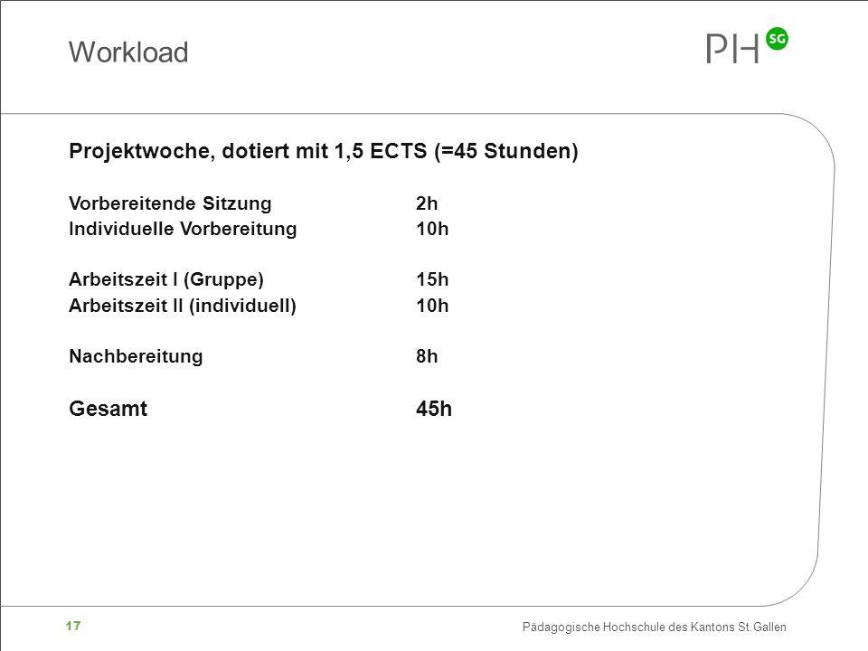 17 Pädagogische Hochschule des Kantons St.Gallen Projektwoche, dotiert mit 1,5 ECTS (=45 Stunden) Vorbereitende Sitzung2h Individuelle Vorbereitung10h Arbeitszeit I (Gruppe)15h Arbeitszeit II (individuell)10h Nachbereitung8h Gesamt45h Workload