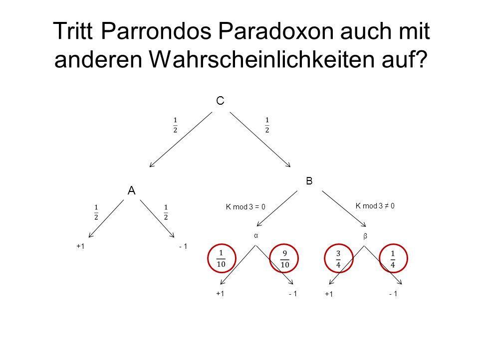 Tritt Parrondos Paradoxon auch mit anderen Wahrscheinlichkeiten auf? B α β +1 - 1 K mod 3 = 0 K mod 3 0 A +1- 1 C