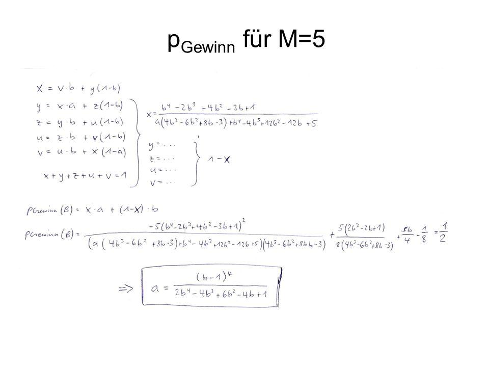 p Gewinn für M=5