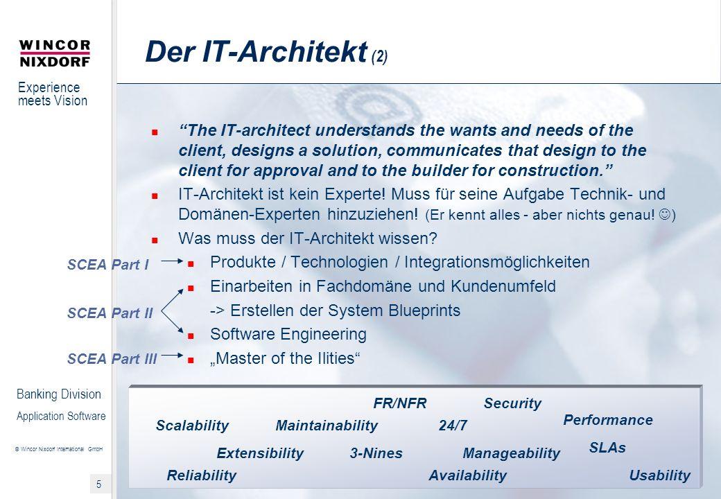 Experience meets Vision © Wincor Nixdorf International GmbH 6 Banking Division Application Software Aufbau SCEA 1.