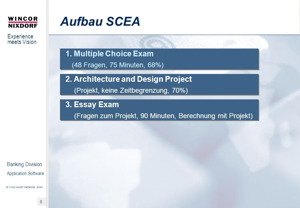 Experience meets Vision © Wincor Nixdorf International GmbH 7 Banking Division Application Software Part I – Multiple Choice Exam (1) Aufgabe: Show your knowledge of the IT.