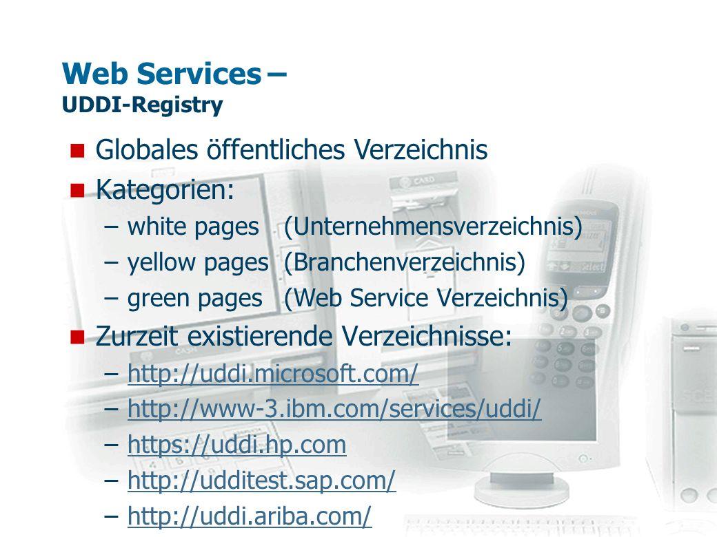 Web Services – UDDI-Registry Kategorien: –white pages (Unternehmensverzeichnis) –yellow pages (Branchenverzeichnis) –green pages (Web Service Verzeich