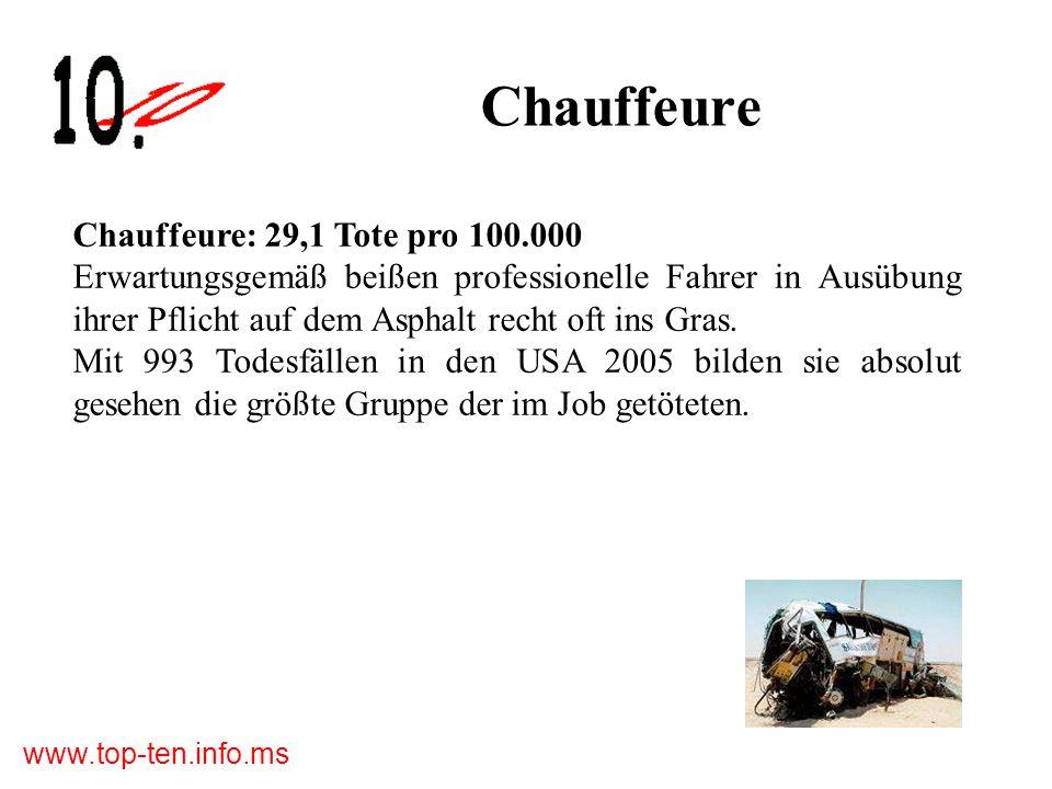 www.top-ten.info.ms Chauffeure Chauffeure: 29,1 Tote pro 100.000 Erwartungsgemäß beißen professionelle Fahrer in Ausübung ihrer Pflicht auf dem Asphalt recht oft ins Gras.