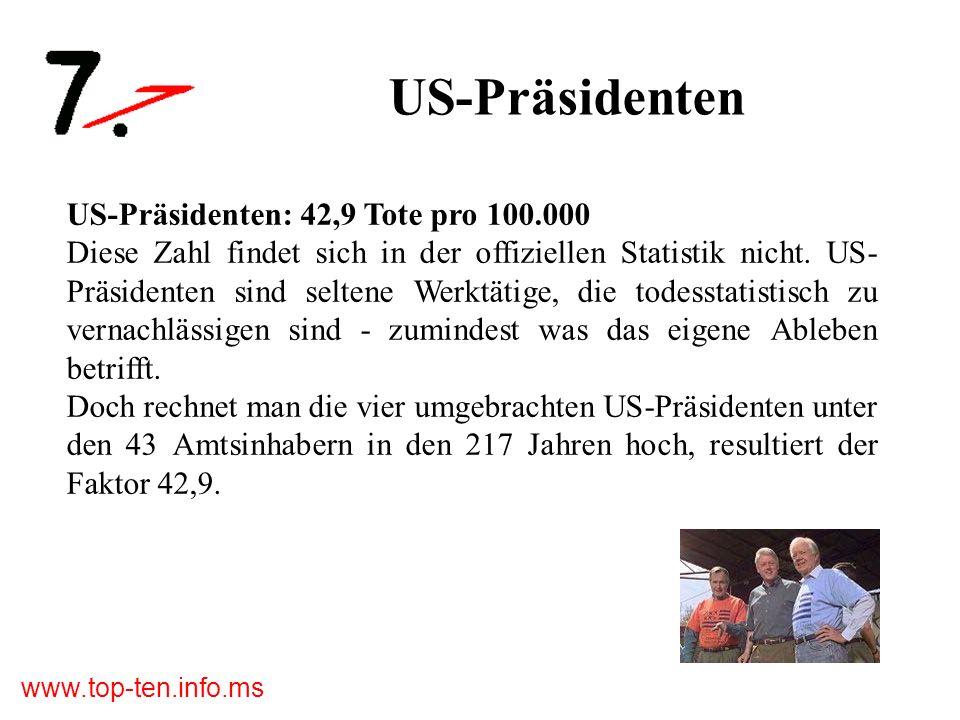 www.top-ten.info.ms US-Präsidenten US-Präsidenten: 42,9 Tote pro 100.000 Diese Zahl findet sich in der offiziellen Statistik nicht.