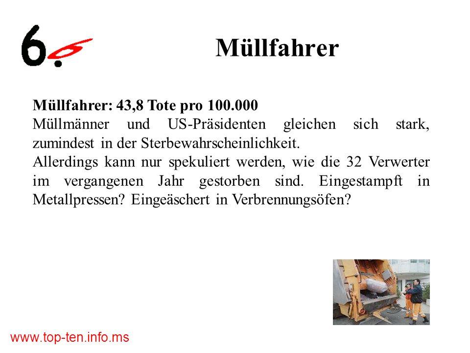 www.top-ten.info.ms Müllfahrer Müllfahrer: 43,8 Tote pro 100.000 Müllmänner und US-Präsidenten gleichen sich stark, zumindest in der Sterbewahrscheinlichkeit.
