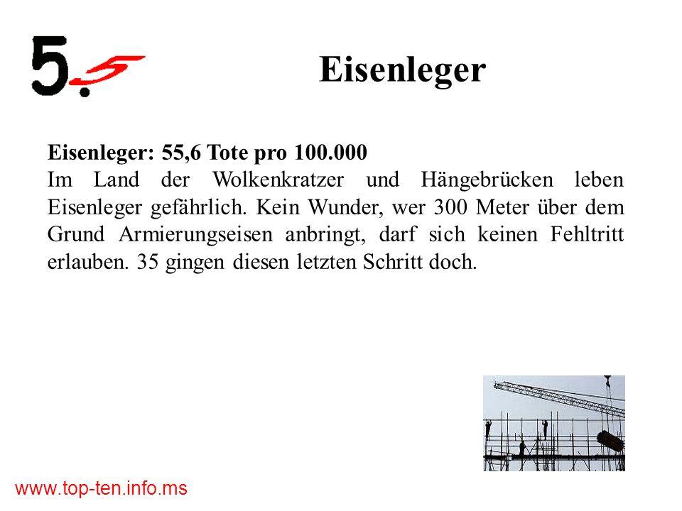 www.top-ten.info.ms Eisenleger Eisenleger: 55,6 Tote pro 100.000 Im Land der Wolkenkratzer und Hängebrücken leben Eisenleger gefährlich.