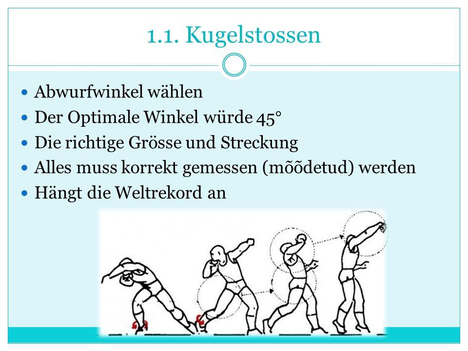 1.1. Kugelstossen Abwurfwinkel wählen Der Optimale Winkel würde 45° Die richtige Grösse und Streckung Alles muss korrekt gemessen (mõõdetud) werden Hä