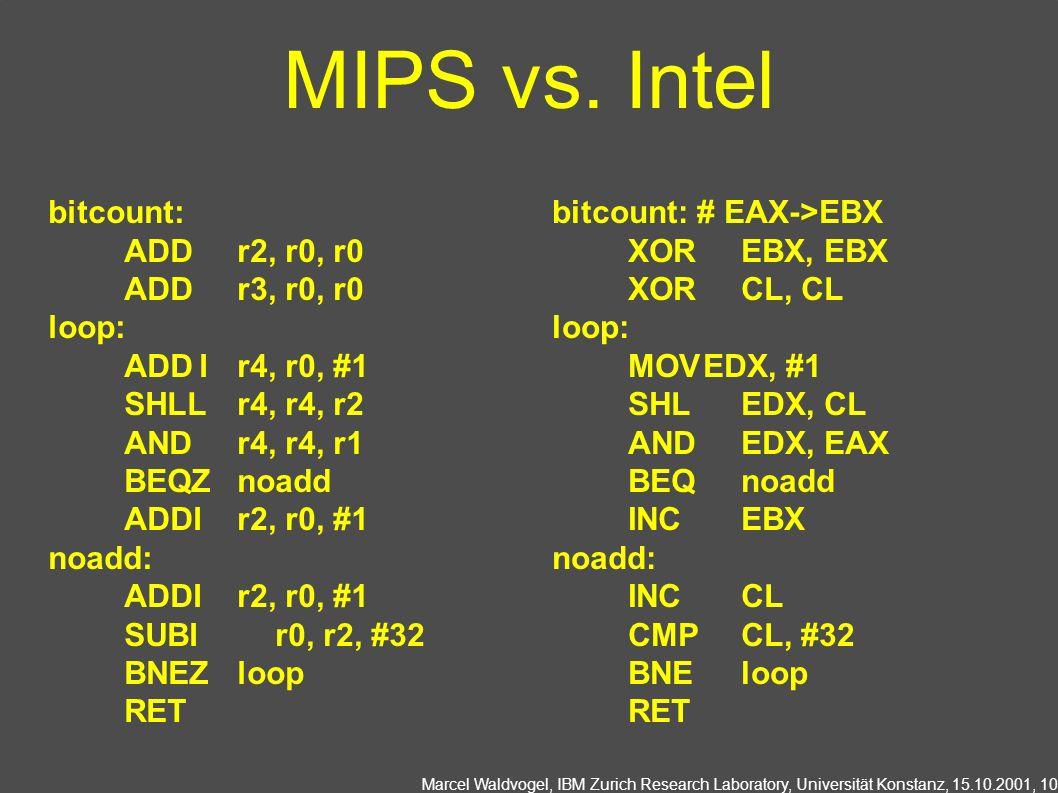 Marcel Waldvogel, IBM Zurich Research Laboratory, Universität Konstanz, 15.10.2001, 10 MIPS vs. Intel bitcount: # EAX->EBX XOREBX, EBX XORCL, CL loop: