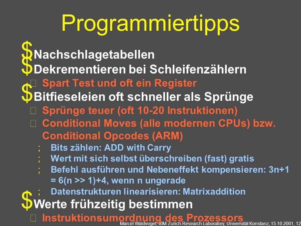 Marcel Waldvogel, IBM Zurich Research Laboratory, Universität Konstanz, 15.10.2001, 12 Programmiertipps Nachschlagetabellen Dekrementieren bei Schleif