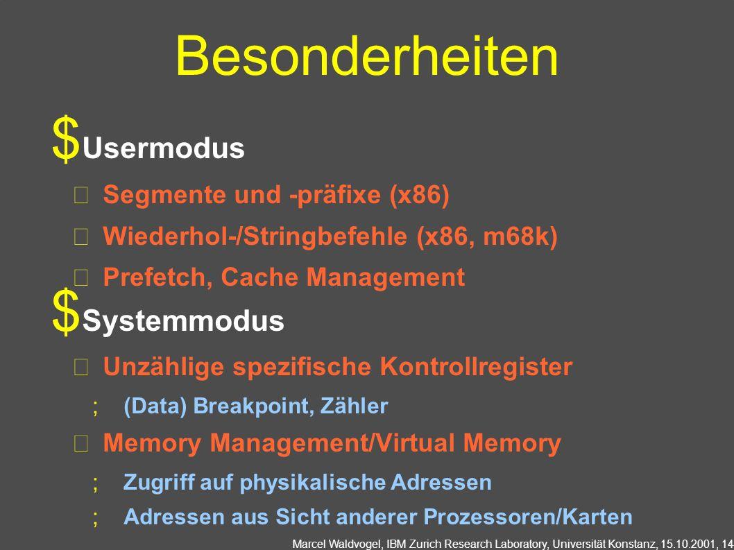 Marcel Waldvogel, IBM Zurich Research Laboratory, Universität Konstanz, 15.10.2001, 14 Besonderheiten Usermodus Segmente und -präfixe (x86) Wiederhol-