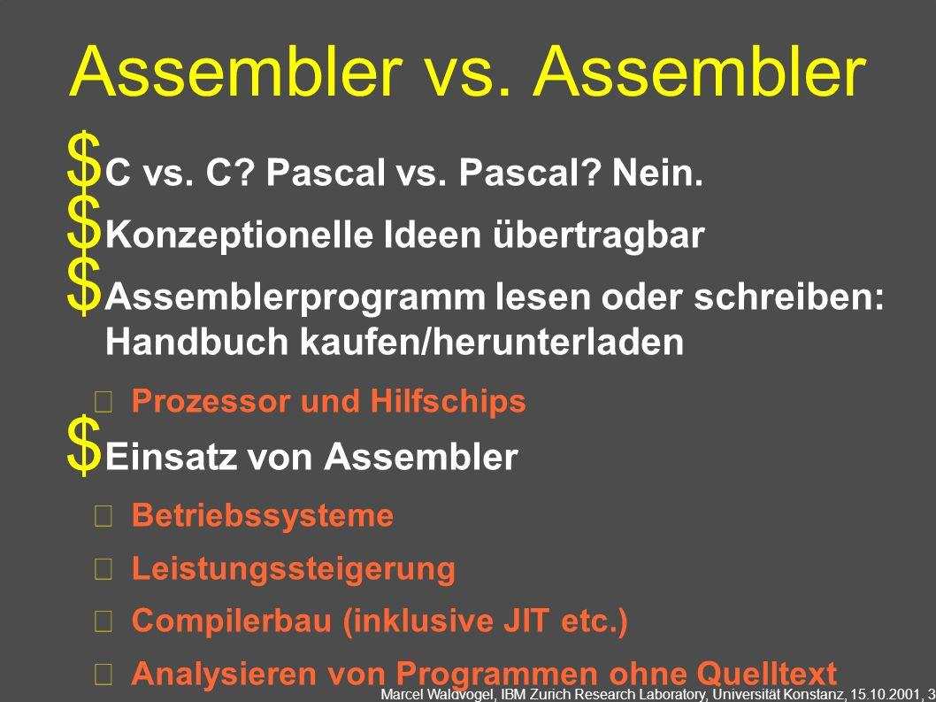 Marcel Waldvogel, IBM Zurich Research Laboratory, Universität Konstanz, 15.10.2001, 3 Assembler vs. Assembler C vs. C? Pascal vs. Pascal? Nein. Konzep