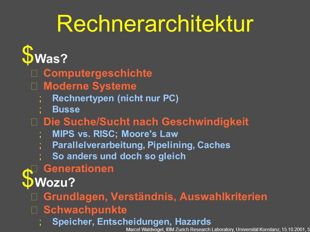 Marcel Waldvogel, IBM Zurich Research Laboratory, Universität Konstanz, 15.10.2001, 6 Assembler Was.