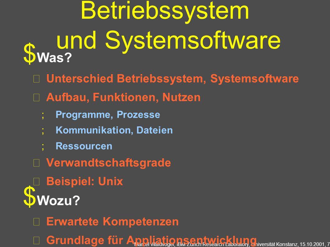 Marcel Waldvogel, IBM Zurich Research Laboratory, Universität Konstanz, 15.10.2001, 7 Betriebssystem und Systemsoftware Was? Unterschied Betriebssyste