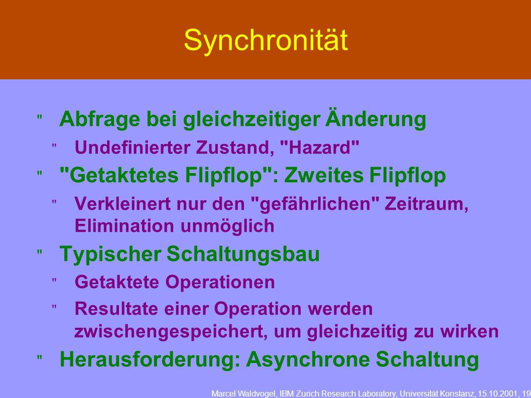 Marcel Waldvogel, IBM Zurich Research Laboratory, Universität Konstanz, 15.10.2001, 19 Synchronität Abfrage bei gleichzeitiger Änderung Undefinierter