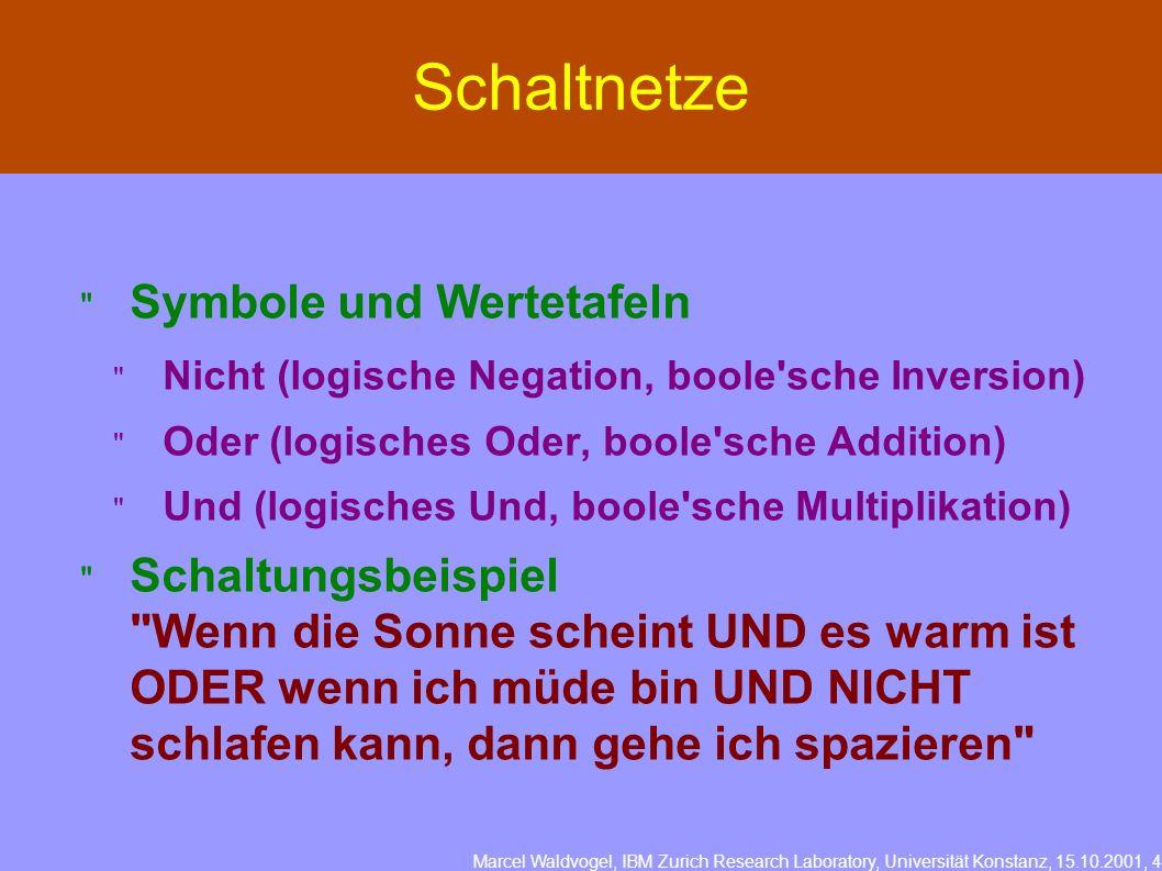 Marcel Waldvogel, IBM Zurich Research Laboratory, Universität Konstanz, 15.10.2001, 4 Schaltnetze Symbole und Wertetafeln Nicht (logische Negation, bo