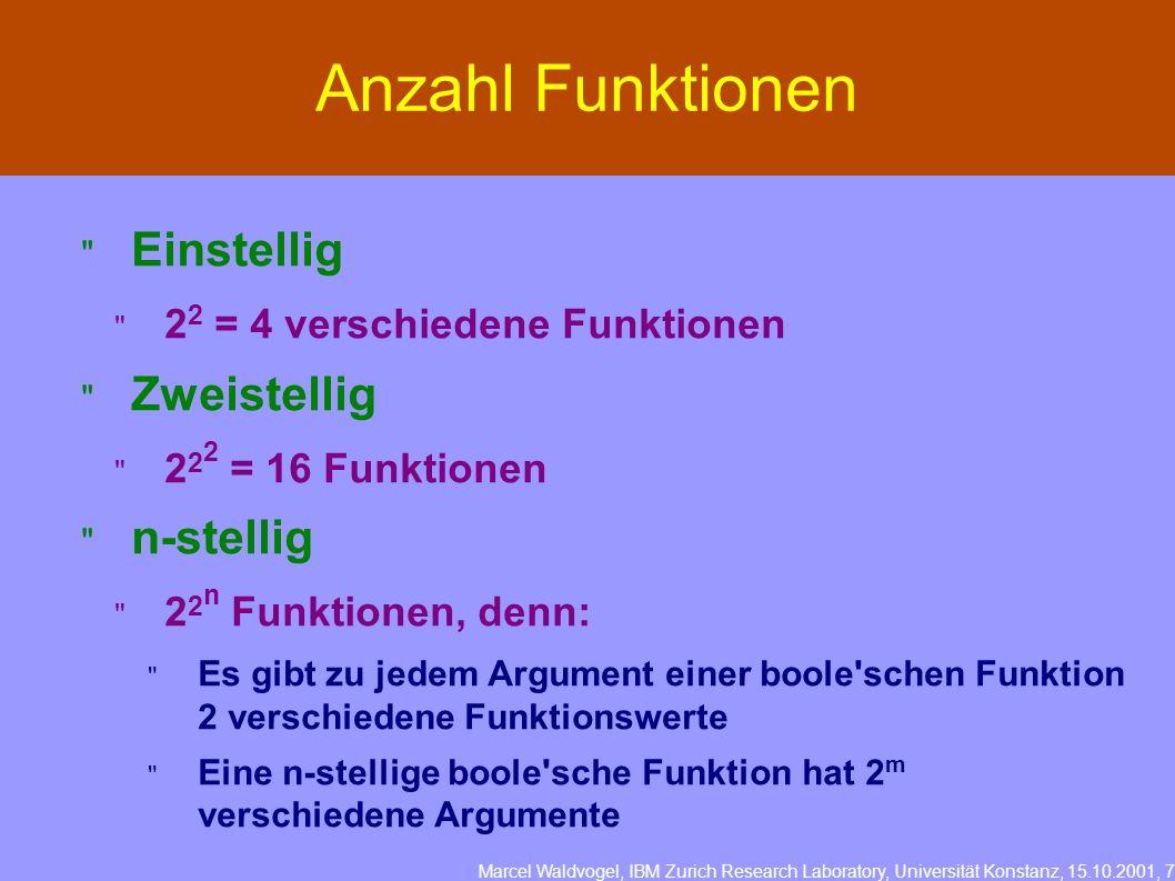 Marcel Waldvogel, IBM Zurich Research Laboratory, Universität Konstanz, 15.10.2001, 7 Anzahl Funktionen Einstellig 2 2 = 4 verschiedene Funktionen Zweistellig 2 2 2 = 16 Funktionen n-stellig 2 2 n Funktionen, denn: Es gibt zu jedem Argument einer boole schen Funktion 2 verschiedene Funktionswerte Eine n-stellige boole sche Funktion hat 2 m verschiedene Argumente