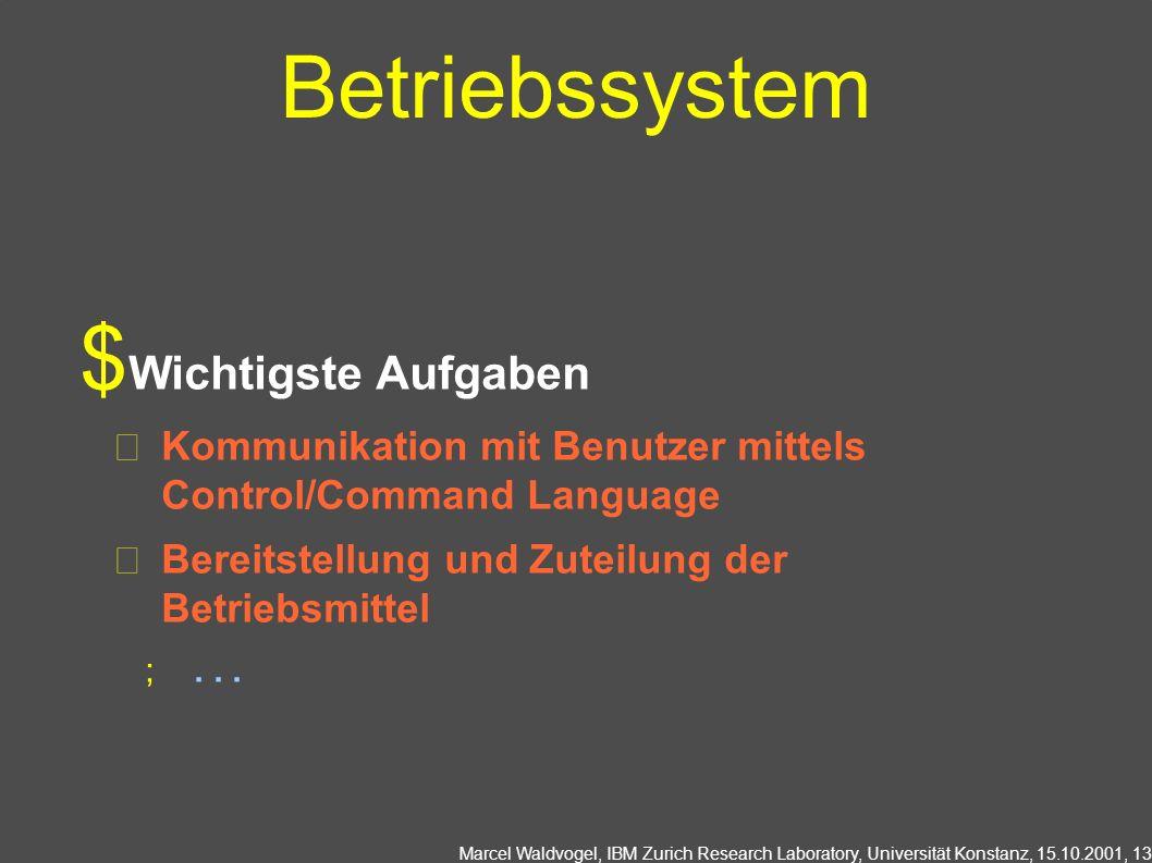 Marcel Waldvogel, IBM Zurich Research Laboratory, Universität Konstanz, 15.10.2001, 13 Betriebssystem Wichtigste Aufgaben Kommunikation mit Benutzer mittels Control/Command Language Bereitstellung und Zuteilung der Betriebsmittel...