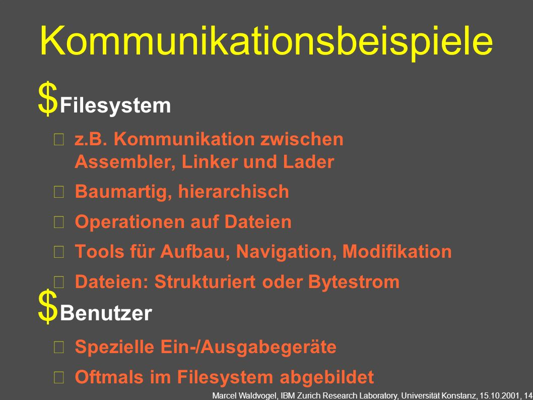 Marcel Waldvogel, IBM Zurich Research Laboratory, Universität Konstanz, 15.10.2001, 14 Kommunikationsbeispiele Filesystem z.B. Kommunikation zwischen