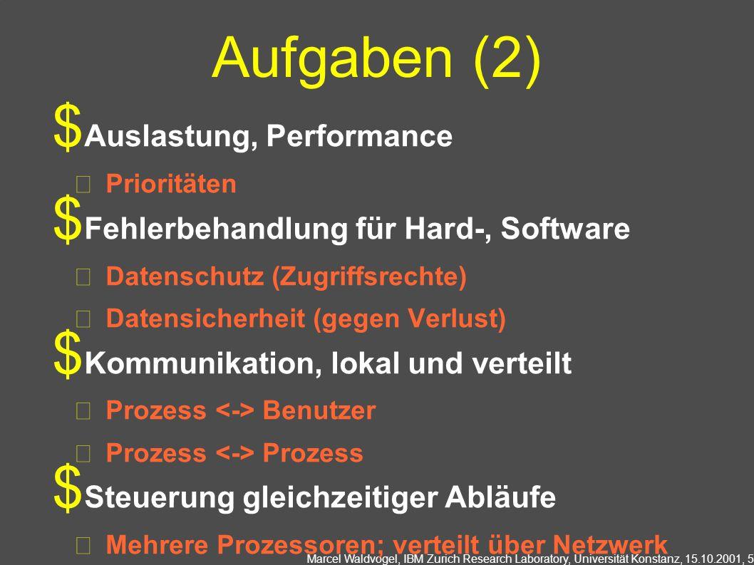 Marcel Waldvogel, IBM Zurich Research Laboratory, Universität Konstanz, 15.10.2001, 5 Aufgaben (2) Auslastung, Performance Prioritäten Fehlerbehandlung für Hard-, Software Datenschutz (Zugriffsrechte) Datensicherheit (gegen Verlust) Kommunikation, lokal und verteilt Prozess Benutzer Prozess Prozess Steuerung gleichzeitiger Abläufe Mehrere Prozessoren; verteilt über Netzwerk