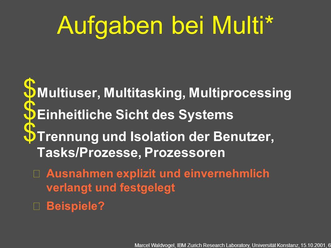 Marcel Waldvogel, IBM Zurich Research Laboratory, Universität Konstanz, 15.10.2001, 17 Prozesskoordination OS: Hauptsächlich Synchronisation Abhängigkeiten zwischen nebenläufigen, kooperierenden Prozessen Ressourcen teilen (I/O, Datenstrukturen, Speicher,...)