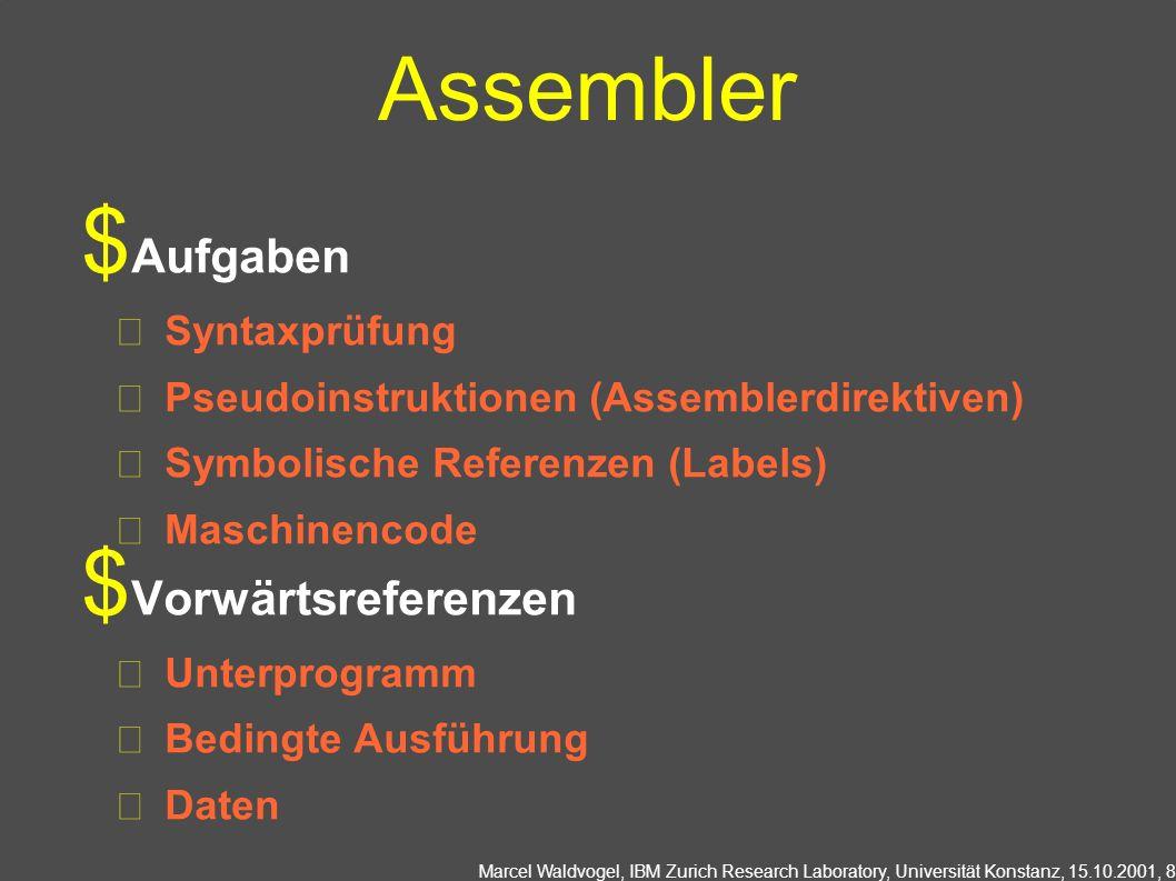 Marcel Waldvogel, IBM Zurich Research Laboratory, Universität Konstanz, 15.10.2001, 8 Assembler Aufgaben Syntaxprüfung Pseudoinstruktionen (Assemblerdirektiven) Symbolische Referenzen (Labels) Maschinencode Vorwärtsreferenzen Unterprogramm Bedingte Ausführung Daten