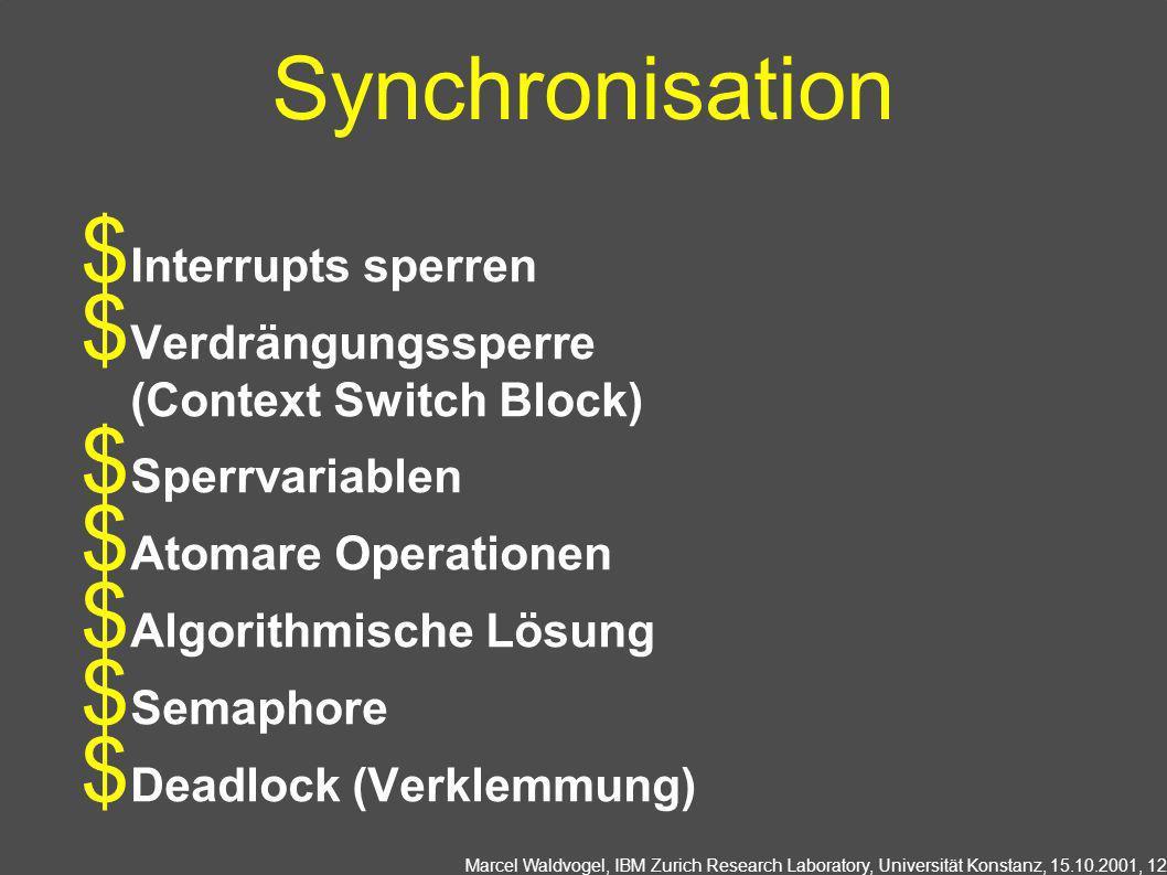 Marcel Waldvogel, IBM Zurich Research Laboratory, Universität Konstanz, 15.10.2001, 12 Synchronisation Interrupts sperren Verdrängungssperre (Context Switch Block) Sperrvariablen Atomare Operationen Algorithmische Lösung Semaphore Deadlock (Verklemmung)