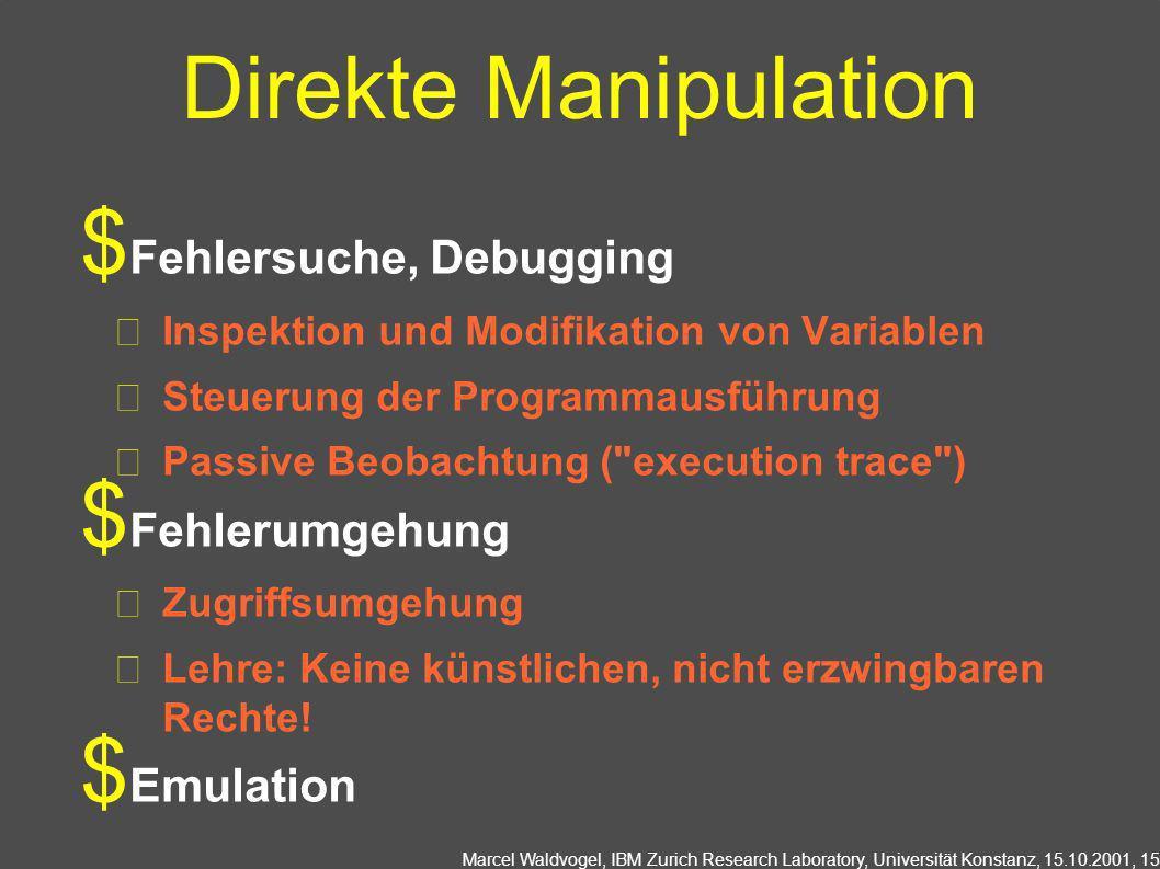 Marcel Waldvogel, IBM Zurich Research Laboratory, Universität Konstanz, 15.10.2001, 15 Direkte Manipulation Fehlersuche, Debugging Inspektion und Modi