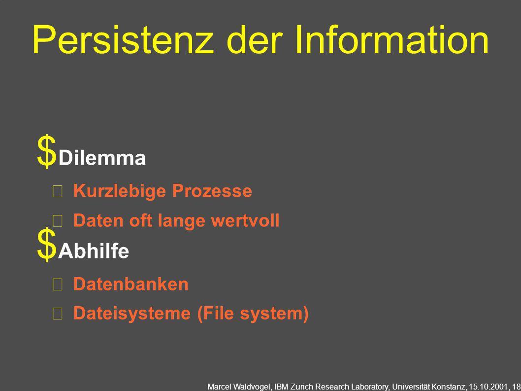 Marcel Waldvogel, IBM Zurich Research Laboratory, Universität Konstanz, 15.10.2001, 18 Persistenz der Information Dilemma Kurzlebige Prozesse Daten oft lange wertvoll Abhilfe Datenbanken Dateisysteme (File system)