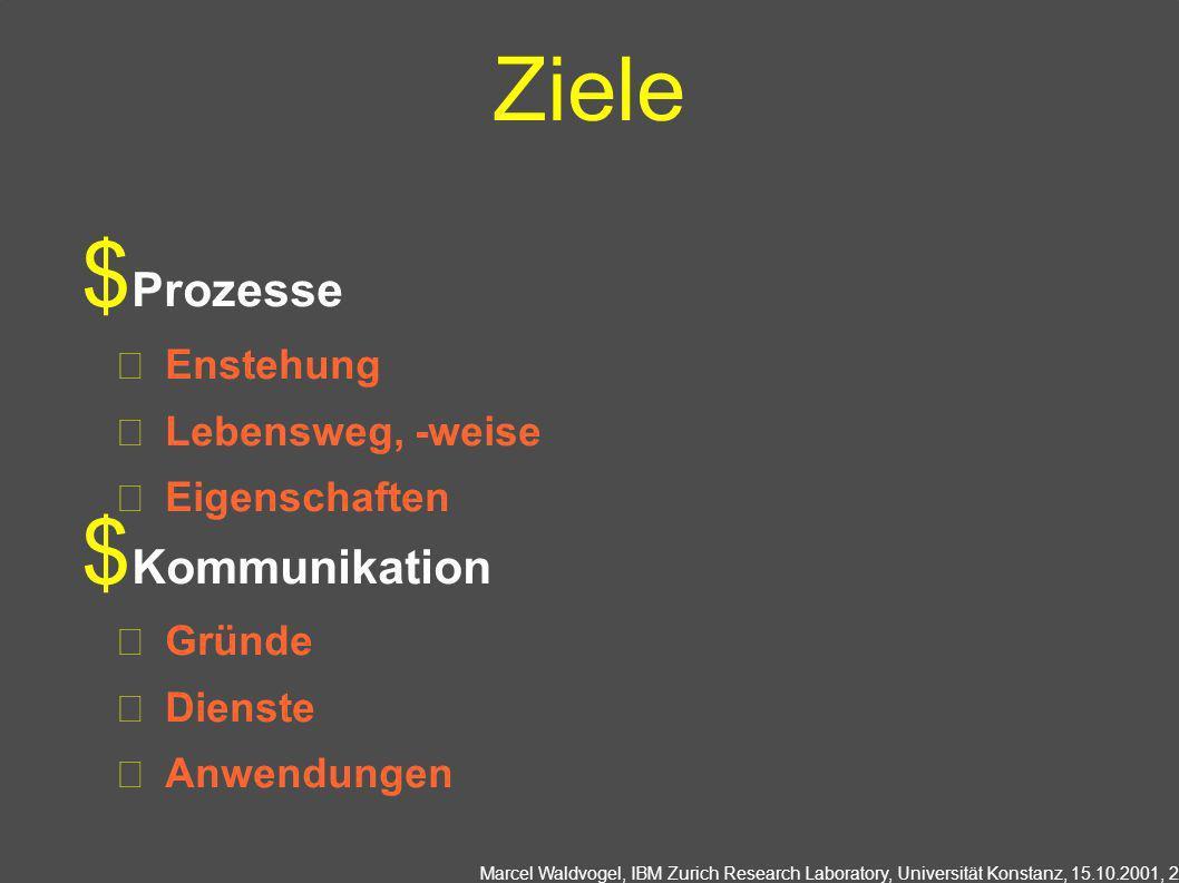 Marcel Waldvogel, IBM Zurich Research Laboratory, Universität Konstanz, 15.10.2001, 2 Ziele Prozesse Enstehung Lebensweg, -weise Eigenschaften Kommunikation Gründe Dienste Anwendungen