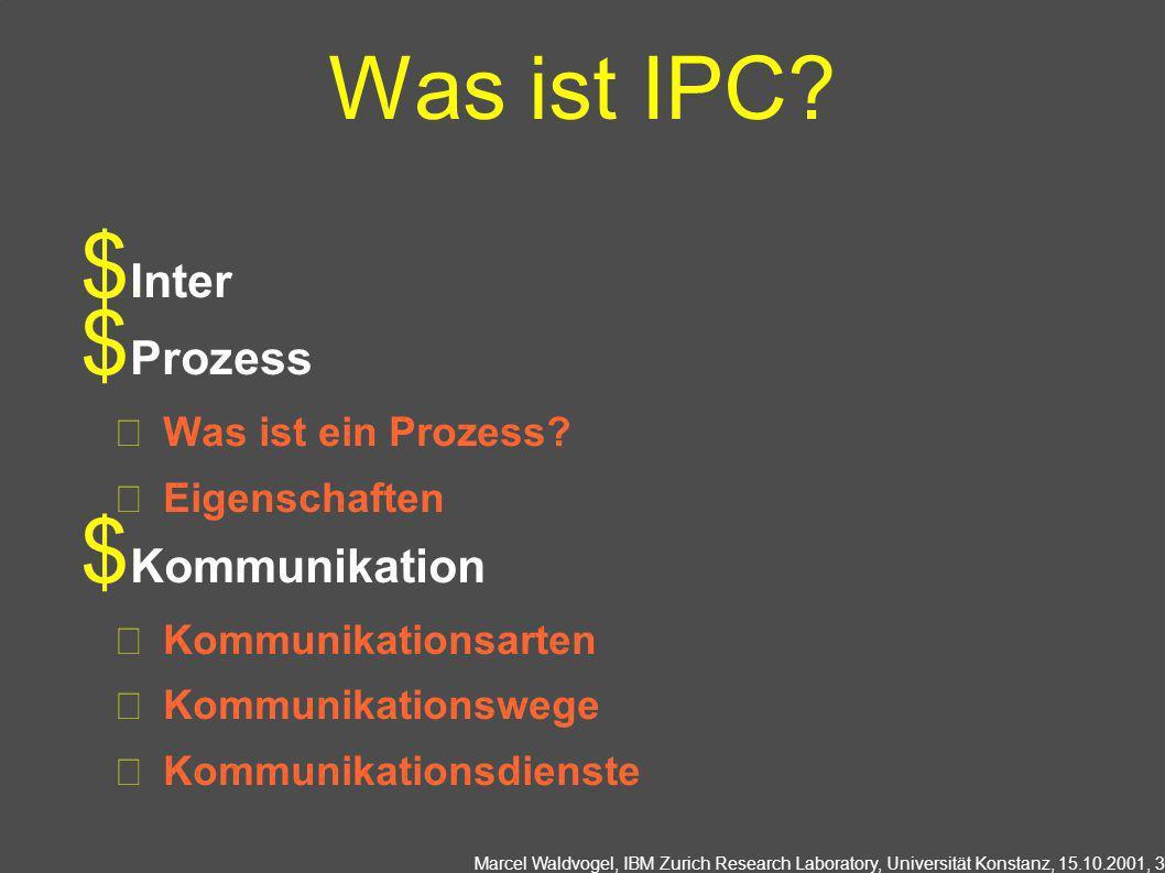 Marcel Waldvogel, IBM Zurich Research Laboratory, Universität Konstanz, 15.10.2001, 3 Was ist IPC? Inter Prozess Was ist ein Prozess? Eigenschaften Ko
