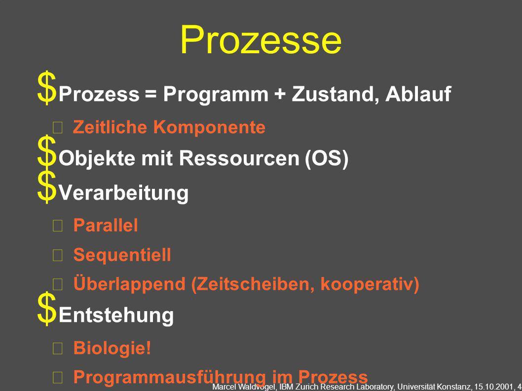 Marcel Waldvogel, IBM Zurich Research Laboratory, Universität Konstanz, 15.10.2001, 4 Prozesse Prozess = Programm + Zustand, Ablauf Zeitliche Komponente Objekte mit Ressourcen (OS) Verarbeitung Parallel Sequentiell Überlappend (Zeitscheiben, kooperativ) Entstehung Biologie.