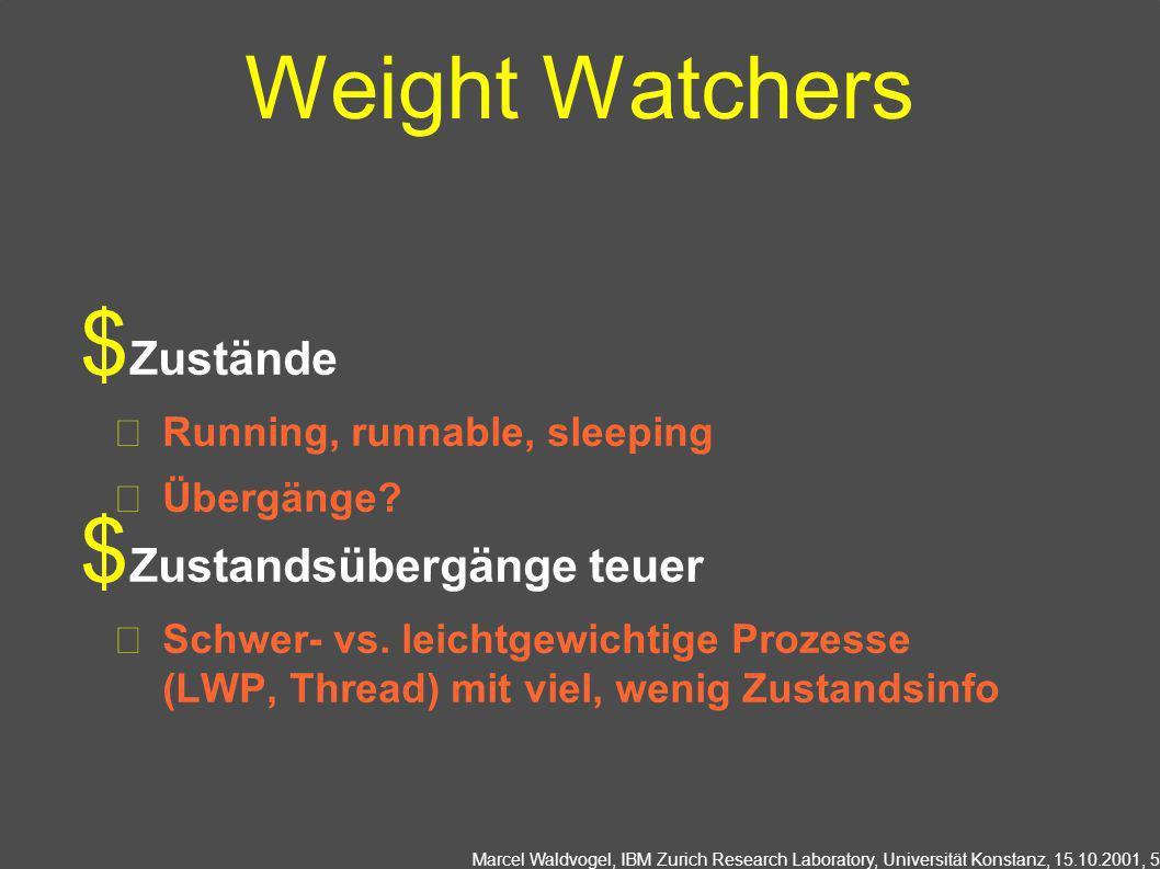 Marcel Waldvogel, IBM Zurich Research Laboratory, Universität Konstanz, 15.10.2001, 5 Weight Watchers Zustände Running, runnable, sleeping Übergänge?