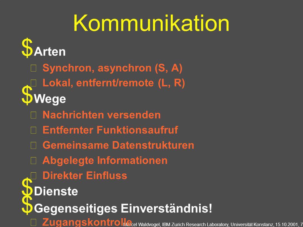 Marcel Waldvogel, IBM Zurich Research Laboratory, Universität Konstanz, 15.10.2001, 7 Kommunikation Arten Synchron, asynchron (S, A) Lokal, entfernt/r