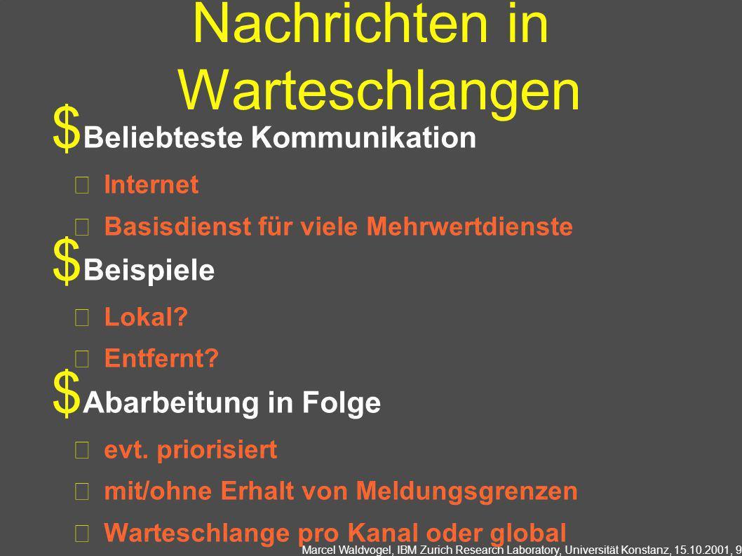 Marcel Waldvogel, IBM Zurich Research Laboratory, Universität Konstanz, 15.10.2001, 9 Nachrichten in Warteschlangen Beliebteste Kommunikation Internet Basisdienst für viele Mehrwertdienste Beispiele Lokal.