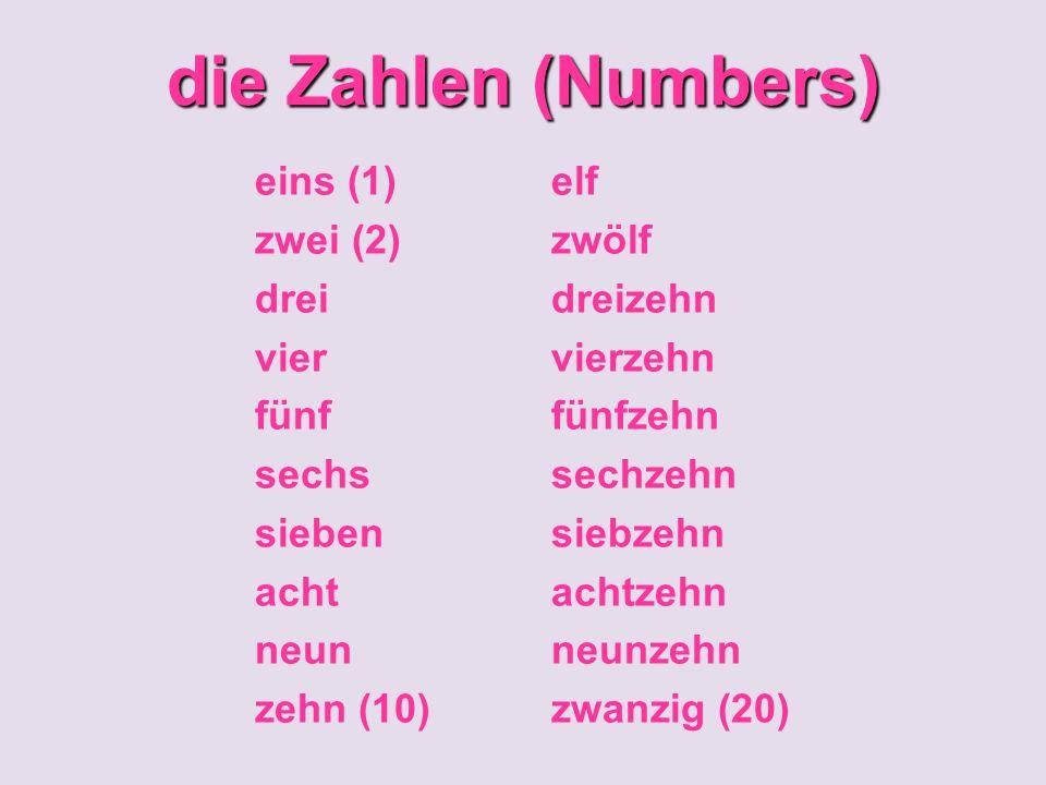 die Zahlen (Numbers) eins (1) zwei (2) drei vier fünf sechs sieben acht neun zehn (10) elf zwölf dreizehn vierzehn fünfzehn sechzehn siebzehn achtzehn neunzehn zwanzig (20)